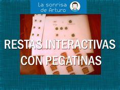 Restas interactivas con pegatinas   La Sonrisa de Arturo Tracing Worksheets, Blog, Tea, Children With Autism, Stickers, Teachers, Smile, Meals, Pictures
