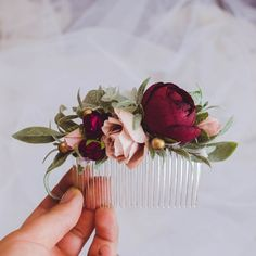 LAST 1 AVAILABLE- Wedding hair accessories Burgundy blush flower comb Flower hair comb Greenery hair comb Flower comb Flower headpiece flower hair comb green hair comb burgundy wedding hair Brautfrisur Bride Flowers, Wedding Hair Flowers, Wedding Hair Pieces, Bridesmaid Flowers, Flowers In Hair, Flower Hair Clips, Winter Wedding Hair, Hair Wedding, Wedding Songs
