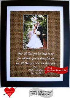 Personalized Thank You Wedding Gift For Parents Of Bride Or The Groom Picmats