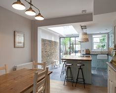 Flushglaze Rooflight - Tight Narrow Kitchen Squeezed Into The Old Closet Wing 4 Kitchen Diner Extension, Open Plan Kitchen Diner, Narrow Kitchen, New Kitchen, Kitchen Island, Victorian House Interiors, Victorian Kitchen, Victorian Terrace Interior, Kitchen Room Design