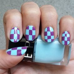 Nail art, Nail design, easy, simple, Checkers, Chess, Colorful