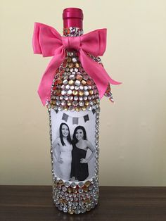 Very intricate, but absolutely worth it for my best friend's 21st birthday! Bedazzled wine bottle. 21st birthday present for girls