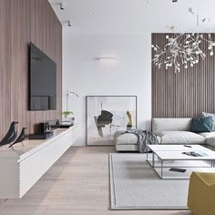 Spotted: Heracleum II Pendant light from Moooi in this stunning modern living room. via - June 29 2019 at Living Pequeños, New Living Room, Living Room Modern, Living Room Designs, Living Room Decor, Small Living, Living Area, Living Spaces, Modern Minimalist Living Room