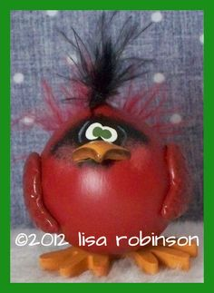 hand painted cardinal GOURD prim chick hp red bird ofg RED. $17.50, via Etsy.