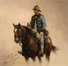 Sargento del Rey, obra de Augusto Ferrer-Dalmau. Representa Un sargento del regimiento de Lanceros del Rey 1 en el año 1909