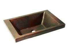 Rectangular Drop In Copper Bath Vessel Sink - Rectangular Drop In Copper Bath Vessel Sink with a Raised Rim by SoLuna, made from lead-free hammered copper by SoLuna artisans.