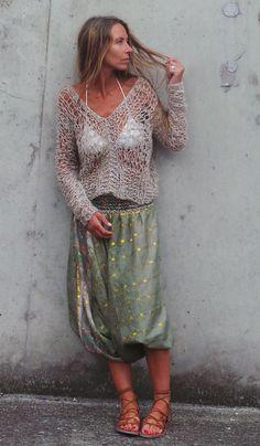 vrouwen beige boho trui top / beige v.neck boho losse door ileaiye