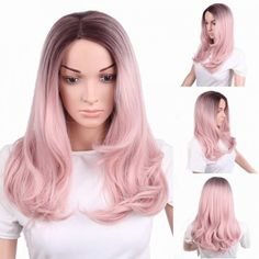 cosplay long pink curly wigs for women middle parting for sale Cheap Lace Front Wigs, Cheap Wigs, How To Wear A Wig, Wigs For Sale, Wigs Online, Long Wigs, Blonde Wig, Womens Wigs, Curly Wigs