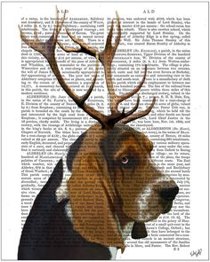 FabFunky - Basset Hound And Antlers Print