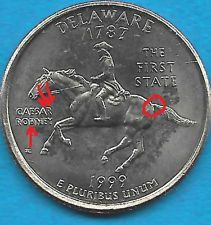 1999 P - DELAWARE - STATE QUARTER ERROR COIN - REVERSE DIE CHIPS - UNCIRCULATED
