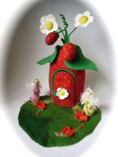 Strawberry Fairy  House. Hand Felted.Waldorf Fariry by FilzArts, $89.00