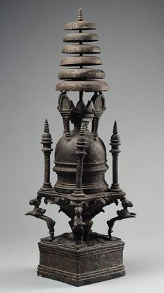 Model of a stupa (Buddhist shrine), ca. 4th century  Pakistan, ancient region of Gandhara  Bronze