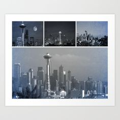 Photo collage of Seattle's skyline and famous Space Needle in fifty or more shades of grey. @society6 #FiftyShades #Seattle