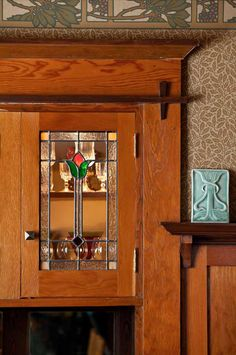 Built in 1909 by architect Emil Schacht, a Portland, Oregon Arts & Crafts home. Detail of the bungalow woodwork in the study.