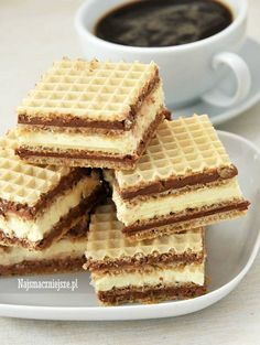 Wafelki z kremem Polish Desserts, Polish Recipes, No Bake Desserts, Bakery Shop Design, Low Carb Side Dishes, Allergy Free Recipes, Dessert Decoration, Happy Foods, Dessert Bars
