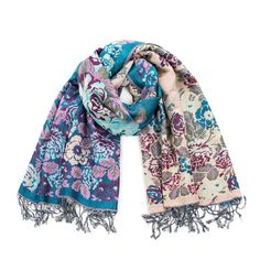 Blue & cream jivala scarf   pashmina #scarf #pashmina Szaleo.pl   Be new fashioned & accessorized!