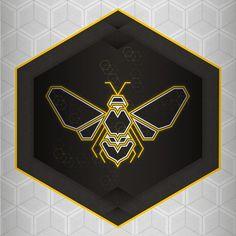 Geometric logo design for a stand up flight VR Simulator Brand Identity Design, Branding Design, Logo Design, Corporate Branding, Bee Silhouette, Honey Logo, Bee Drawing, Honey Packaging, Bee Tattoo