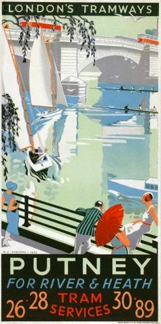 'Putney, for River and Heath', London County Council (LCC) Tramways poster, 1932. Artist: RF Fordred