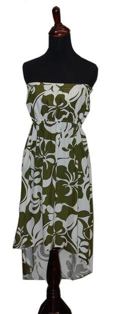 2ecf000f185 Hawaiian Hoku Green High Low Ladies Summer Dress
