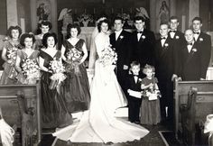 """Sylvia Margaret Verstraete and William Leo Lichtenauer married 11 Nov 1948  back row: Betty VanDeBerghe, Pat Decoster, Mary Louise (Verstraete) Beam, Sylvia (Verstraete) Lichtenauer, William Lichtenauer, Frank Lichtenauer, Charles Verstraete, and Ben A. Zarda  front row: Irene VanDeBerghe, Helen Lichtenauer, Julius A. Verstraete, Bernard Joseph """"B.J."""" Klein  Flower Girl, Dorothy Beam and Ring Bearer is a young Tramposh boy, no one recalls his first name.  Photo courtesy Rita Miller"""