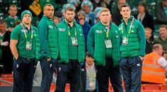 18 October 2015; Ireland players from left Sean Cronin, Simon Zebo, Sean O'Brien, Tadhg Furlong and Jonathan Sexton, on the pitch before the game against Argentina. 2015 Rugby World Cup Quarter-Final, Ireland v Argentina. Millennium Stadium, Cardiff, Wales. Picture credit: Matt Browne / SPORTSFILE