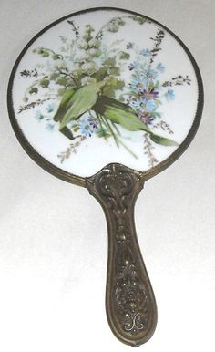 Antique Vintage Hand Mirror Hand Painted Floral Lily Daisy Brass Frame Handle | eBay