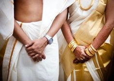 Malayali bride wearing traditional gold and white saree and groom wearing silk dhoti. South Indian Weddings, South Indian Bride, Malayali Bride, Kerala Matrimony, Kerala Bride, Traditional Indian Wedding, Romantic Pictures, Indian Wedding Photography, Before Us