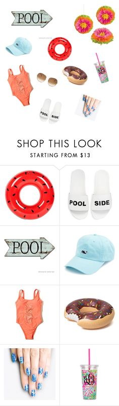 """Pool Party"" by candy107 ❤ liked on Polyvore featuring Sunnylife, Schutz, Vineyard Vines, Hollister Co., alfa.K and Chloé"