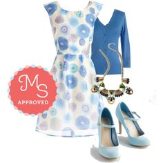 Meadow Merriment Dress in Watercolor by modcloth on Polyvore featuring moda, outfit, wedding, modcloth and SomethingBlue