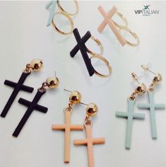 Beautiful earrings in the shape of a cross. There are several 🎨 colors available. Suitable as a 🎁 gift thanks to the gift box packaging. Gift Box Packaging, Italian Fashion, Beautiful Earrings, Vip, Bracelets, Femininity, Gifts, Fashion Earrings, Highlight