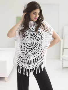 Hot for spring and summer! This crochet circle top looks great over jeans and a tank, or as a swimsuit cover up at the beach! Get the free crochet pattern and make it with Lion Brand 24/7 Cotton! Pattern calls for 5 balls (pictured in white) and a size E-4 (3.5mm) crochet hook.