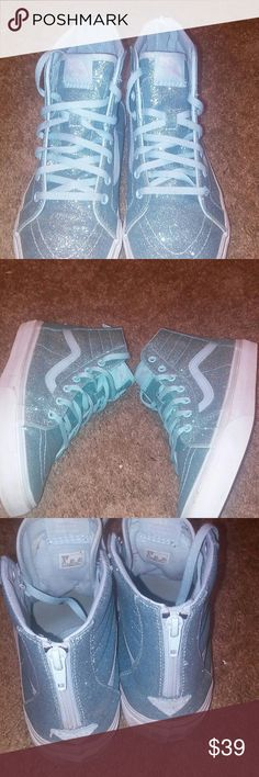 Sparkley Hightop Vans sneakers Sparkley light blue,very good condition,size 6 Vans Shoes Sneakers