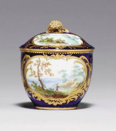 c1758 A SEVRES BLEU LAPIS SUGAR-BOWL AND COVER (POT A SUCRE 'BOURET' ET SON COUVERCLE, 2EME GRANDEUR) BLUE INTERLACED L'S ENCLOSING DATE LETTER F FOR 1758-1759 AND WITH A DOT TOP AND BOTTOM OF THE ENCLOSURE, PAINTER'S MARK POSSIBLY FOR YVERNEL, INCISED L Price realised USD 3,824
