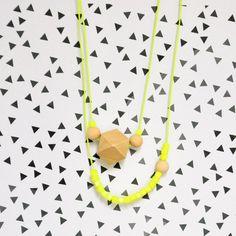 Neon yellow & wooden bead necklace. €14,00, via Etsy.