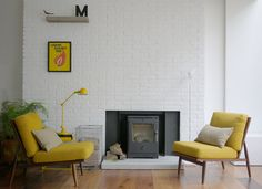 painted brick fireplace with log burner House, Interior, 1960s House, Interior Architecture Design, House Styles, Home Decor, Painted Brick Fireplace, Arch Interior, Fireplace