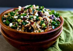 Farro Salad with Kale, Cranberries, Pecans and Goat Cheese   www.stuckonsweet.com