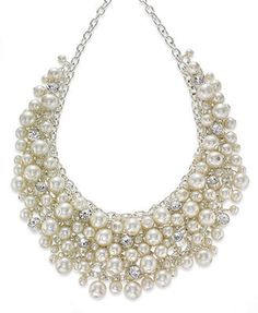 Charter Club Necklace, Silver-Tone Glass Pearl Cluster Bib Necklace