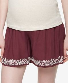A Pea In The Pod Maternity Embroidered Shorts - Dusty Plum XS