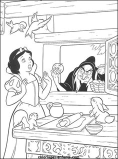 Snow White Princess And Witch Coloring Pages - Snow White cartoon coloring pages Snow White Coloring Pages, Apple Coloring Pages, Witch Coloring Pages, Cartoon Coloring Pages, Adult Coloring, Coloring Books, Free Coloring, Disney Princess Coloring Pages, Disney Princess Colors