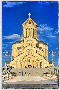 Holy Trinity Cathedral of Tbilisi, Georgia / Commonly known as Sameba you can see the church from almost everywhere in the city. It's a brand new church, only completed in 2004 and the third tallest Eastern Orthodox church in the world.