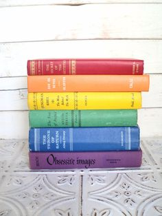 Rainbow Instant Library Collection Decorative Books Photography Props Red, Orange, Yellow, Green, Blue, Purple ROY G BIV