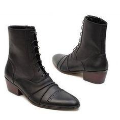 Black Leather Lace Up Vintage Retro Gothic Style Dress Boots Men SKU-1100013