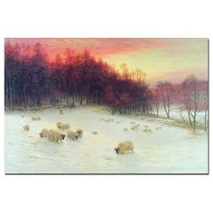 "Trademark Art ""Glowing Evening Hours in the West"" by Joseph Farquharson Painting Print on Wrapped Canvas Size: 16"" H x 24"" W x 2"" D"