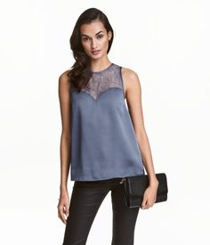 Sleeveless Top with Lace | Dark gray-blue | Ladies | H&M US