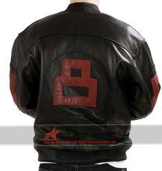 8 Ball Bomber Black Leather Jacket