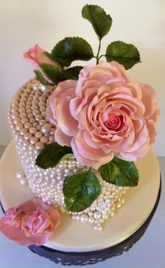 Pink Roses and Pearls Baby Shower - Cake by Carla Jo