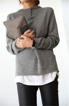 Palin grey pullover, Cool neck detail. Perfect match with a white T-shirt and jeans. | @andwhatelse