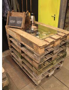 More Pallet Fun Moveable pallet workstation/cash wrap.