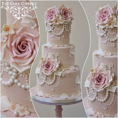 vintage pearls wedding cake by The Cake Cuppery