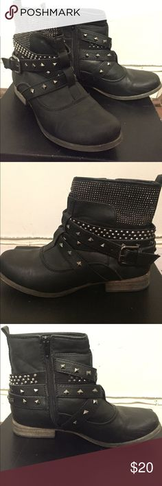Studded Black Ankle Boots Studded black faux leather booties with a buckle on outer side. Zipper on inside. Low heel. In great condition. Wanted Shoes Ankle Boots & Booties